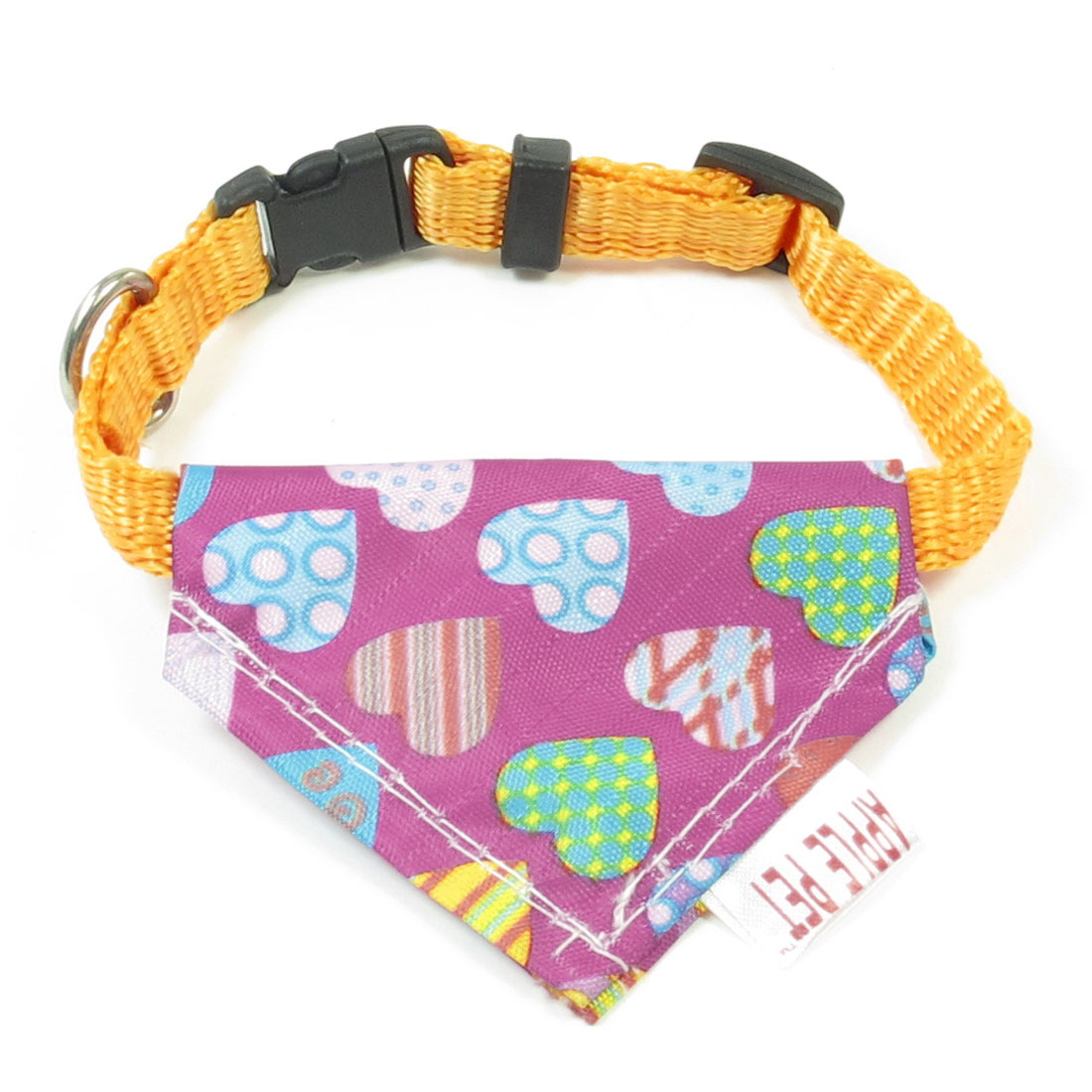 1cm Wide Assorted Color Hearts Print Puppy Triangle Bandana Collar Rope Yellow