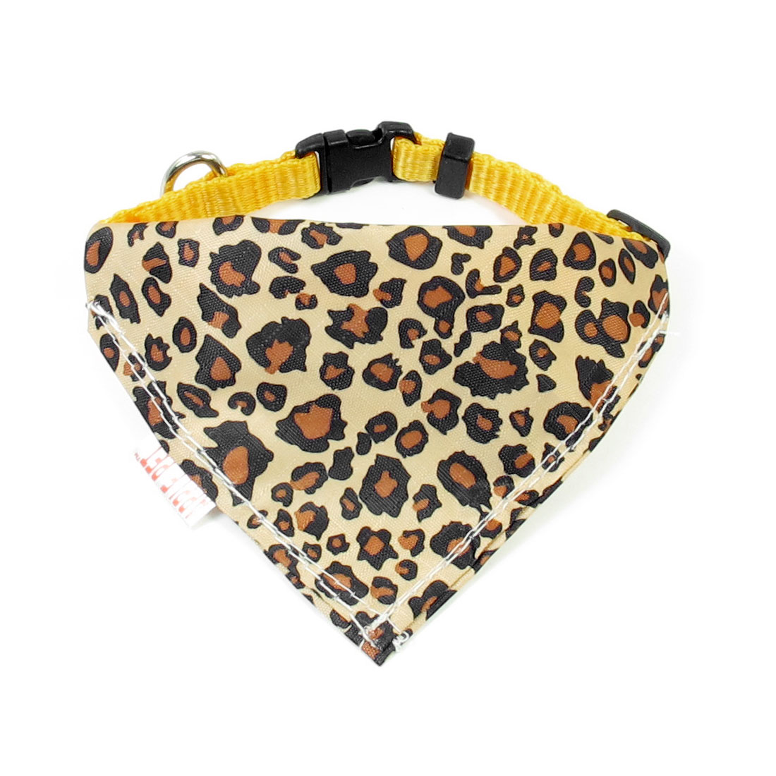 "0.4"" Width Adjustable Leopard Print Pet Dog Triangle Bandana Collar Rope Yellow"