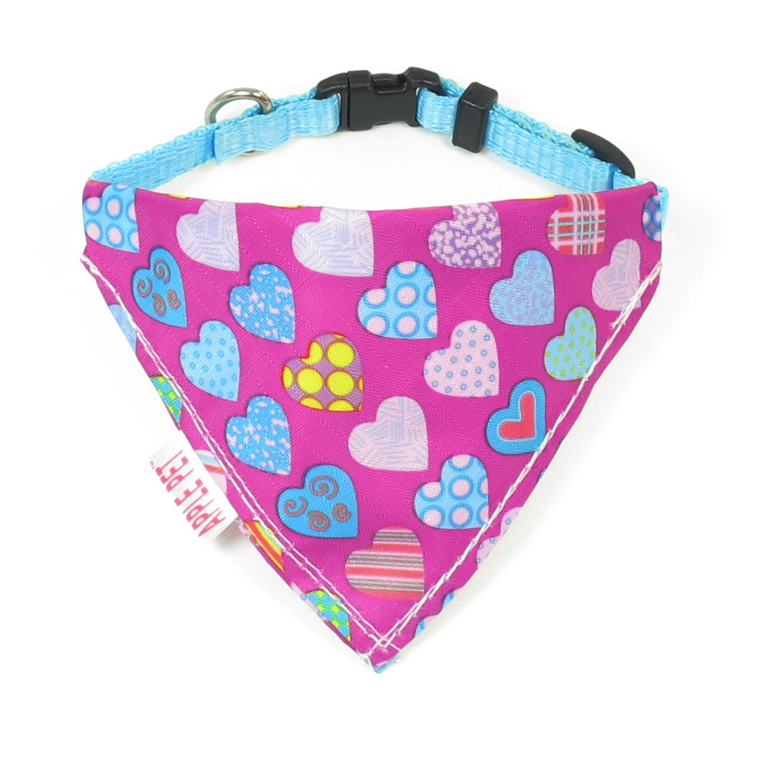 1cm Wide Adjustable Multicolor Hearts Print Pet Dog Triangle Bandana Collar Rope