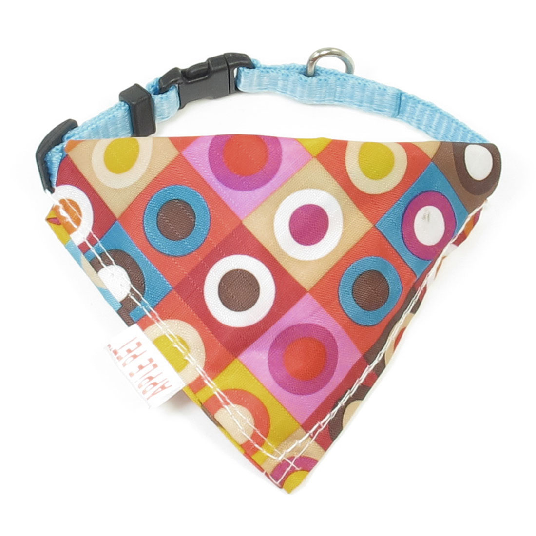 Plastic Side Release Buckle Colorful Circles Pattern Pet Dog Bandana Collar Blue