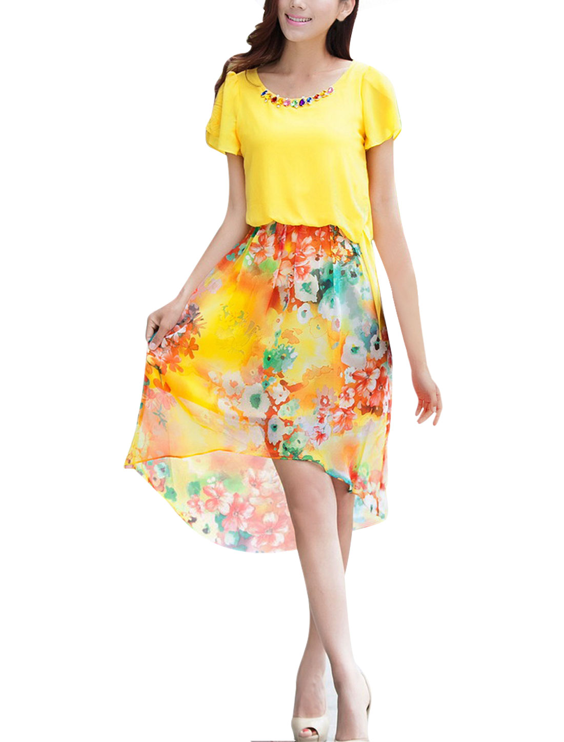 Lady Bubble Sleeve Straps Waist Chiffon Floral Prints Yellow Dress XS