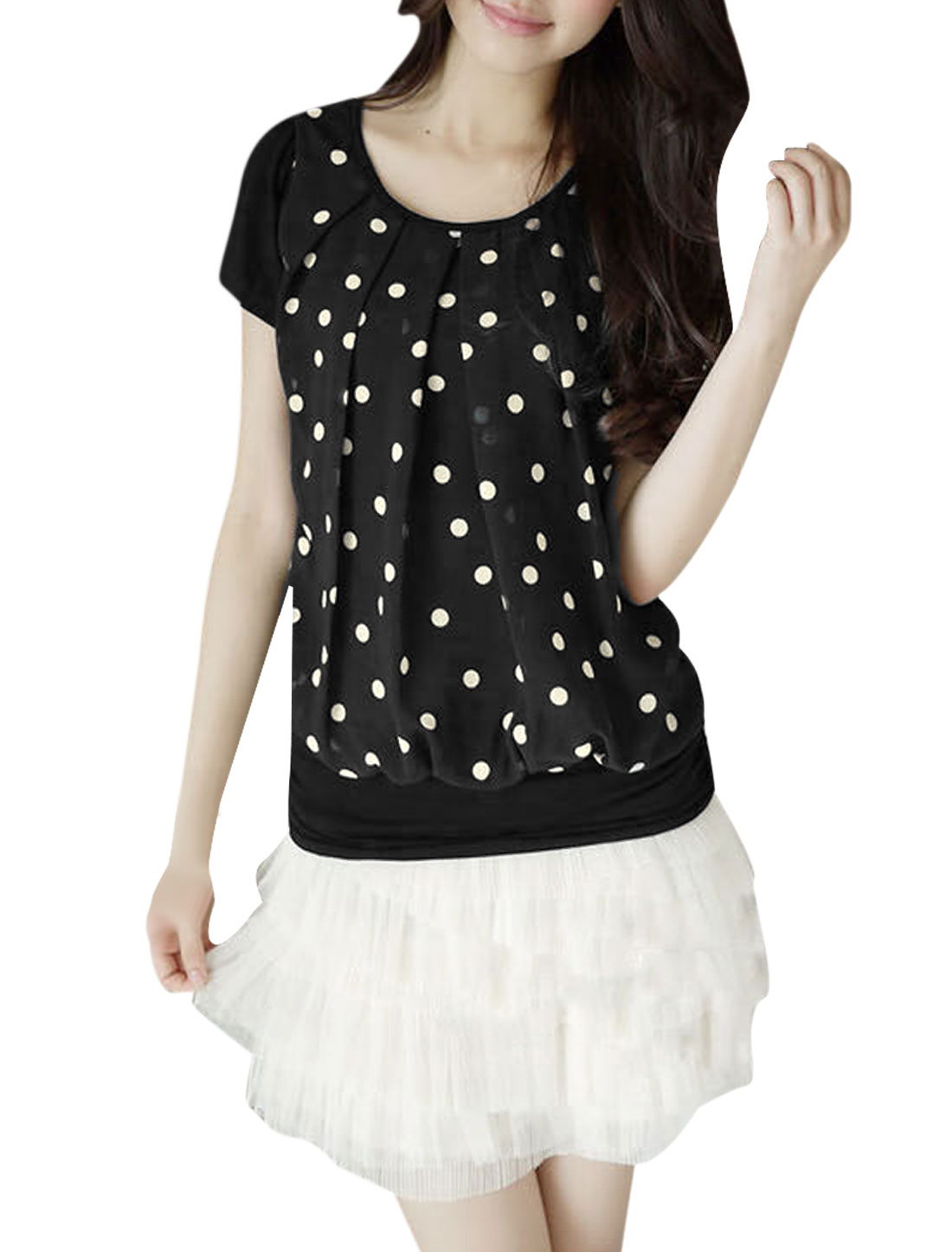 Lady Splice Chiffon Front Design Dots Pattern Blouse Black XS