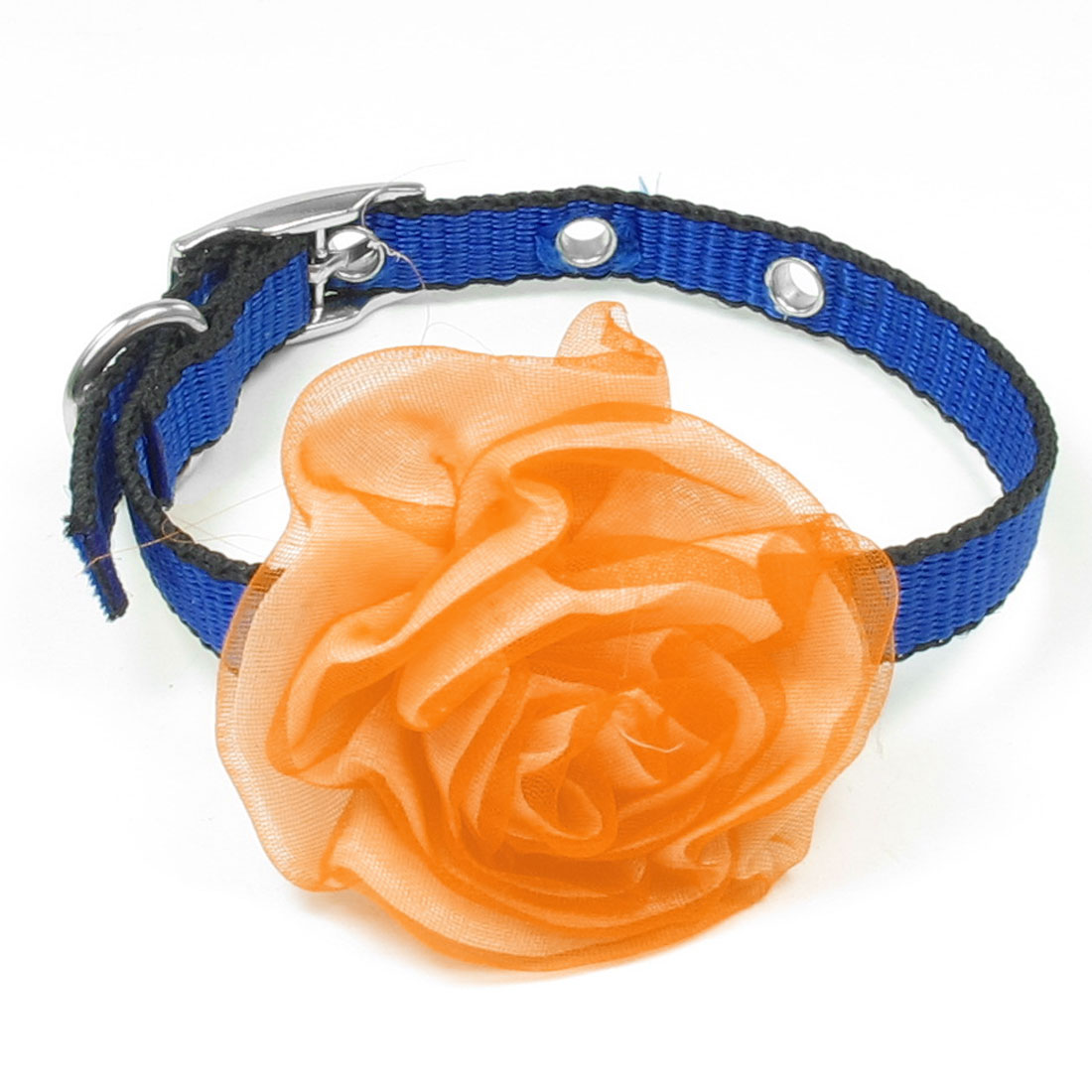 Single Pin Buckle Orange Flower Decor Blue Black Nylon Pet Cats Collar Necklace