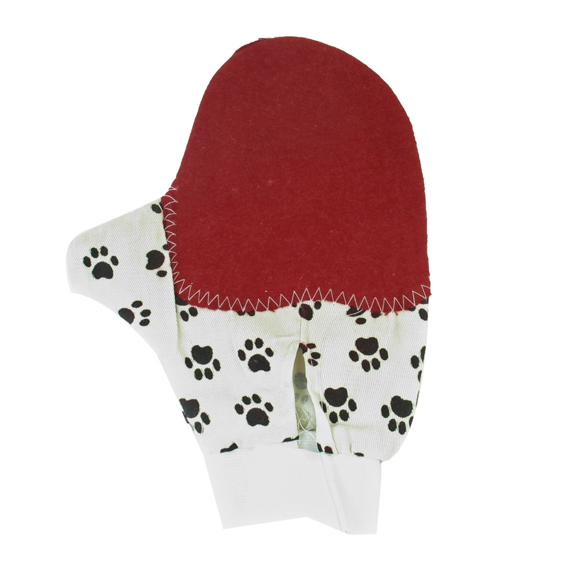 Dog Paw Print Pet Shower Grooming Bathing Gloves Massage Brush Beige Burgundy
