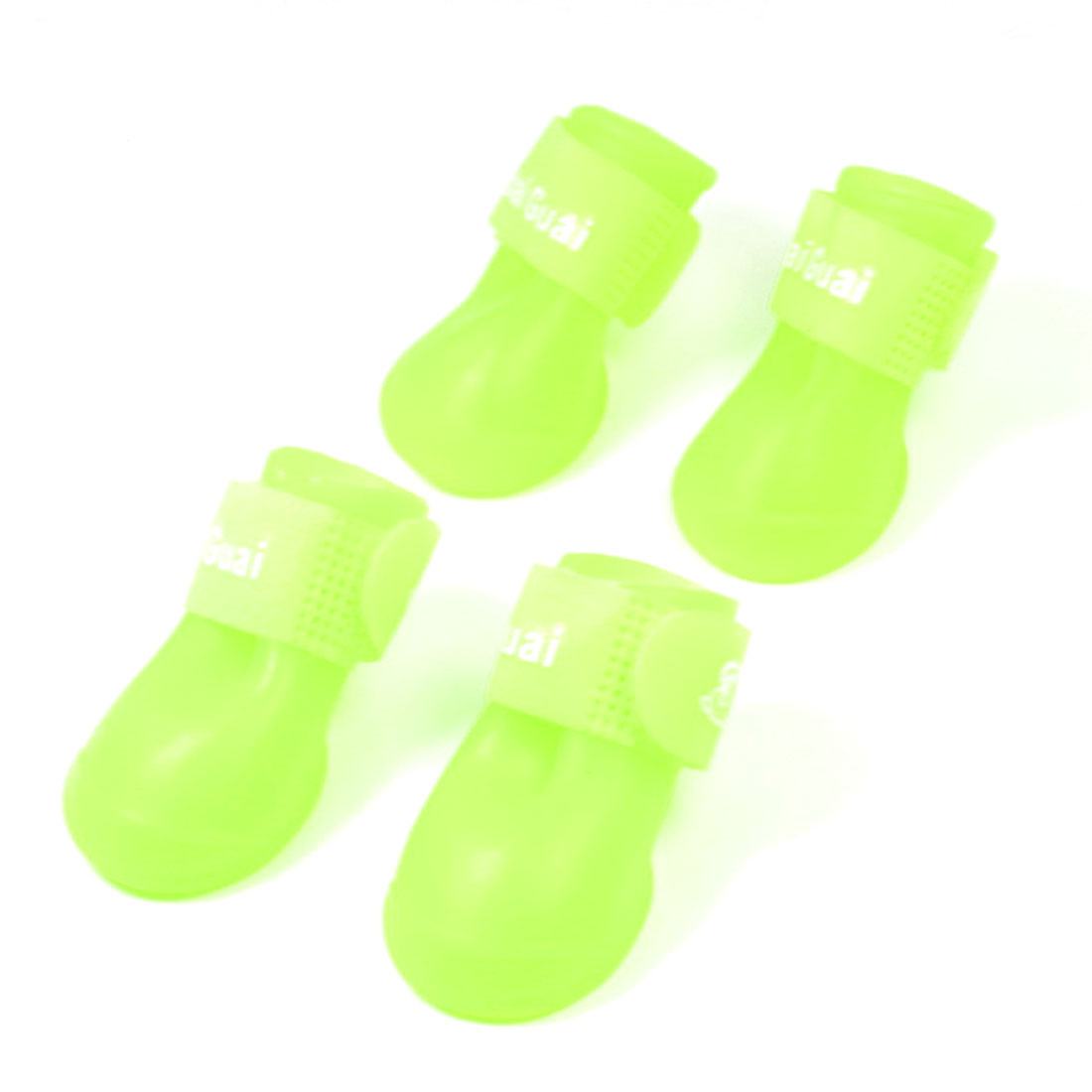 4pcs Pets Dogs Yellow Green Rubber Rain Boot Dog Paw Print Sole Rainshoes Size S