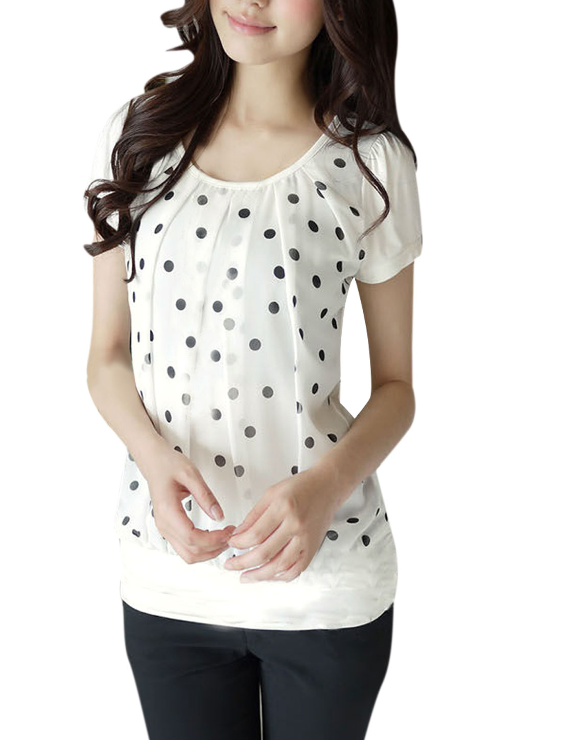 Lady Short Sleeve Dots Prints Front Stretchy White Blouse XS