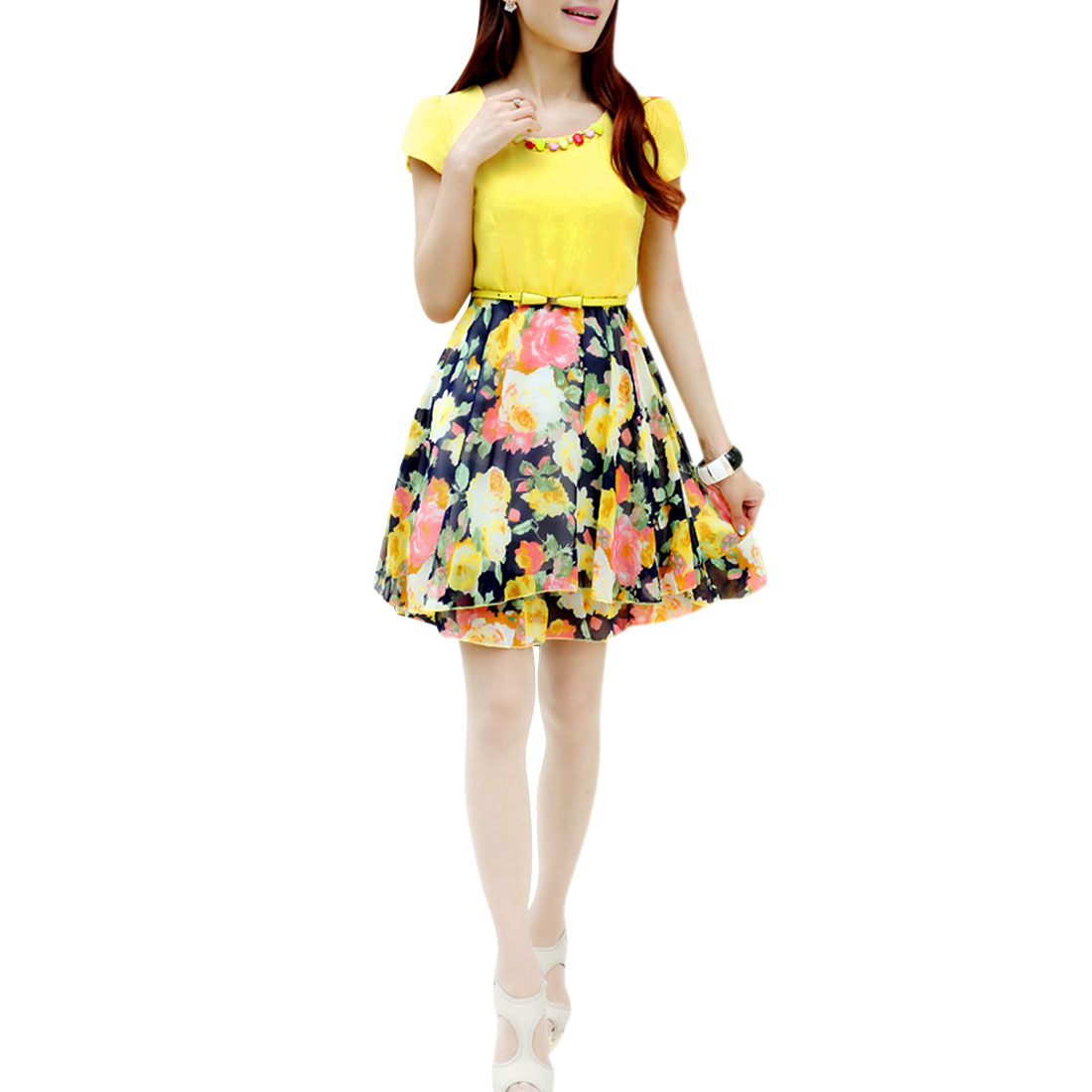 Lady Bubble Sleeve Zipped Side Chiffon Flower Prints Multicolor Dress S