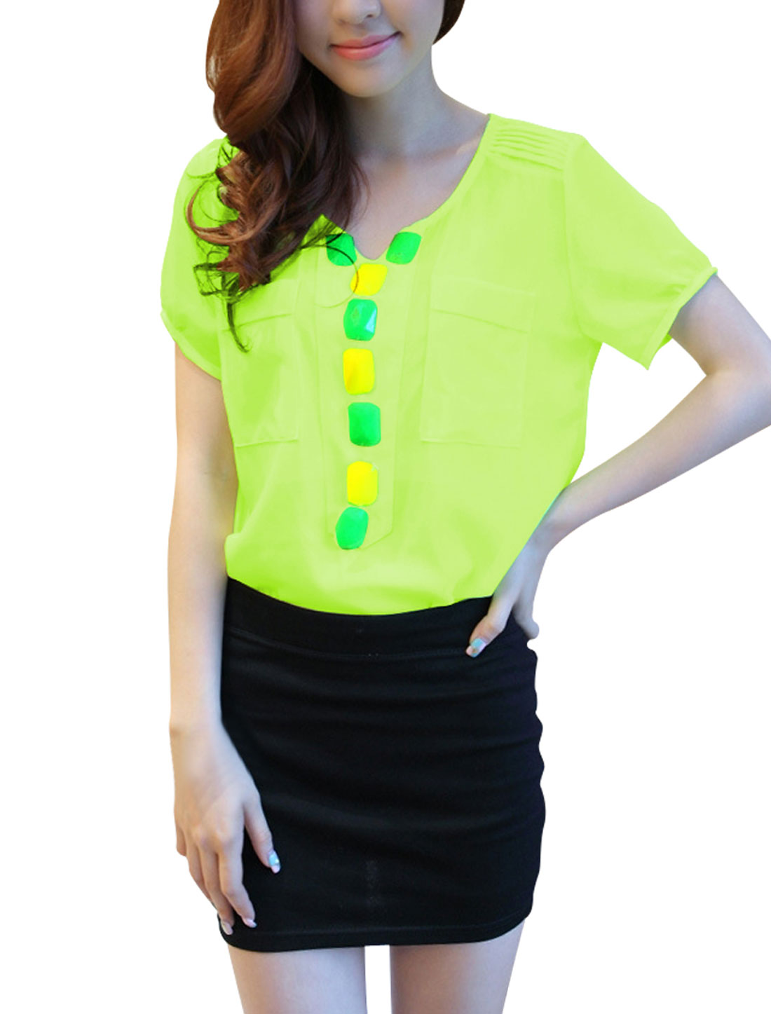 Woman Newly V-Neck Short Sleeve Rhinestone Decor Slipover Lime Blouse XS