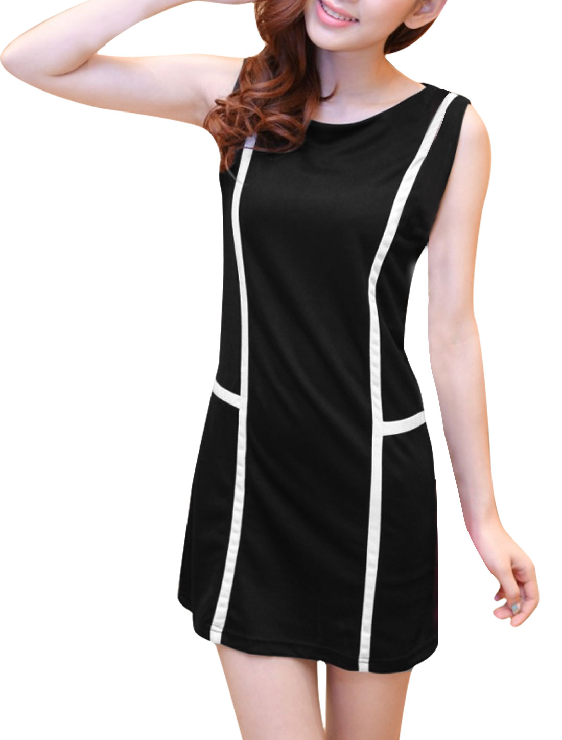 Lady Business Office Slim Fit Striped Black Mini Tank Dress XS