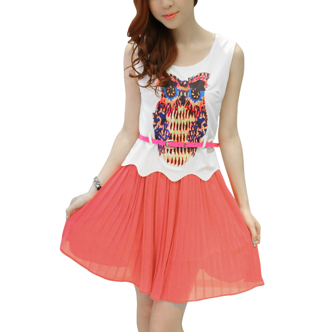 Woman Round Neck Sleeveless Owl Prints Watermelon Red White Above Knee Dress XS