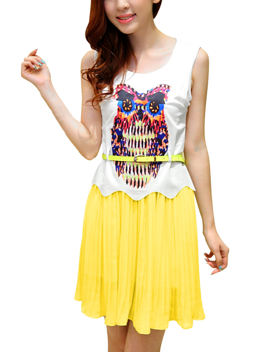 Women Chic Owl Prints Sleeveless Chiffon Splice Light Yellow White Dress XS
