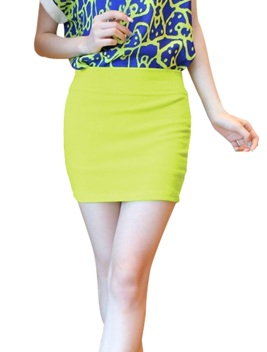 Ladies Elastic Waistband Stretchy Pencil Mini Skirt Green XS