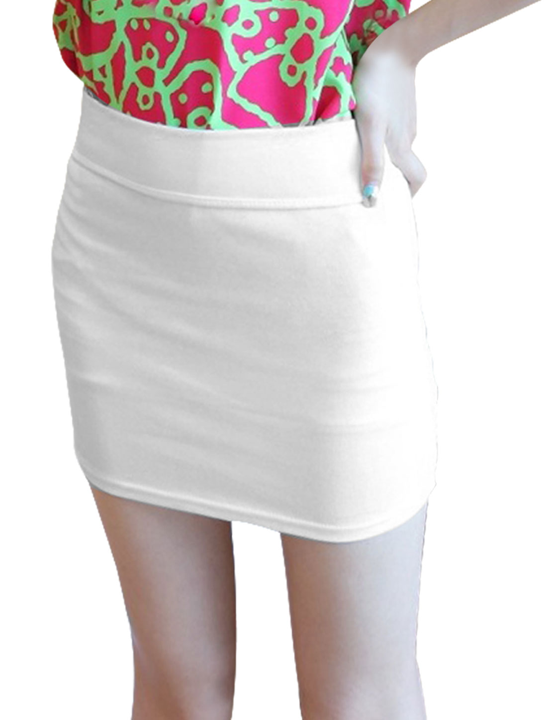 Ladies Elastic Waistband Stretchy Pencil Mini Skirt White XS