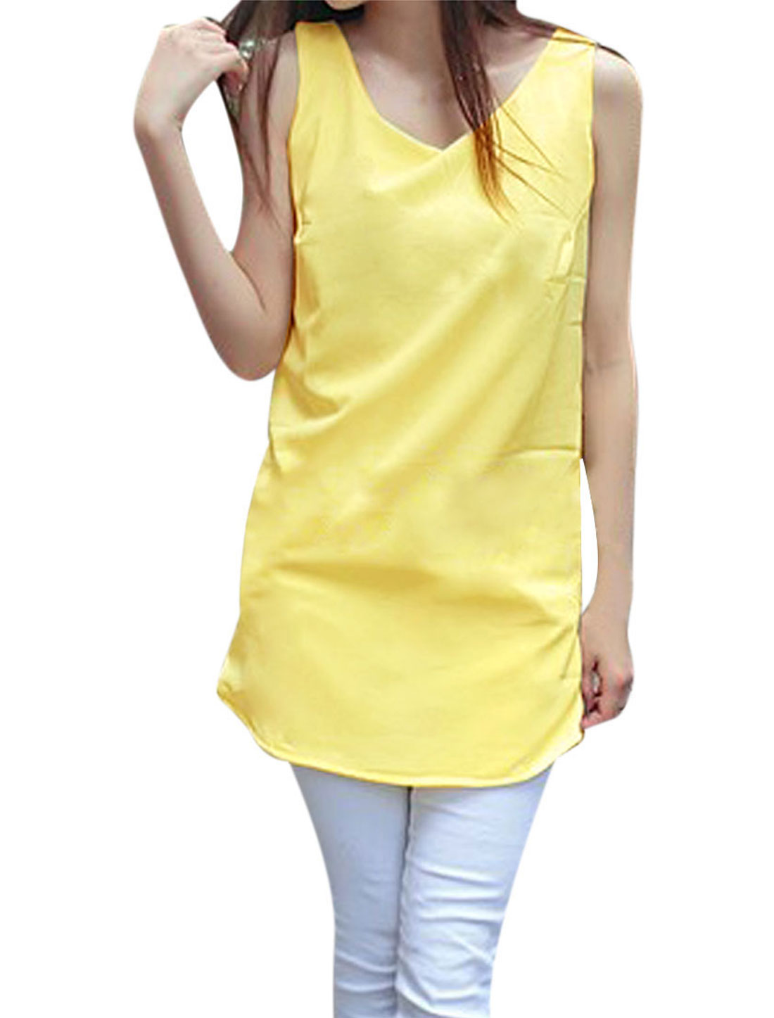 Lady Chiffon Sleeveless Modern Sun Tops Blouses Light Yellow S
