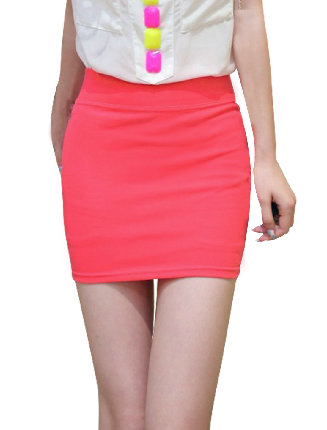 Ladies Elastic Waistband Stretchy Pencil Mini Skirt Red XS