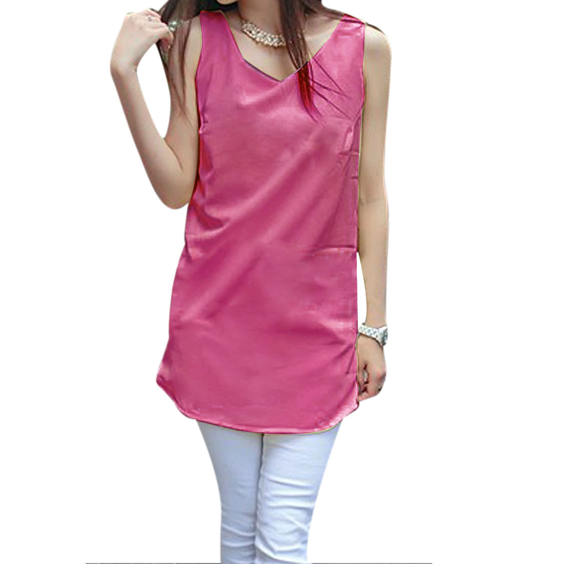 Ladies Solid Color Round Neck Chiffon Tunic Shirt Red-Violet S