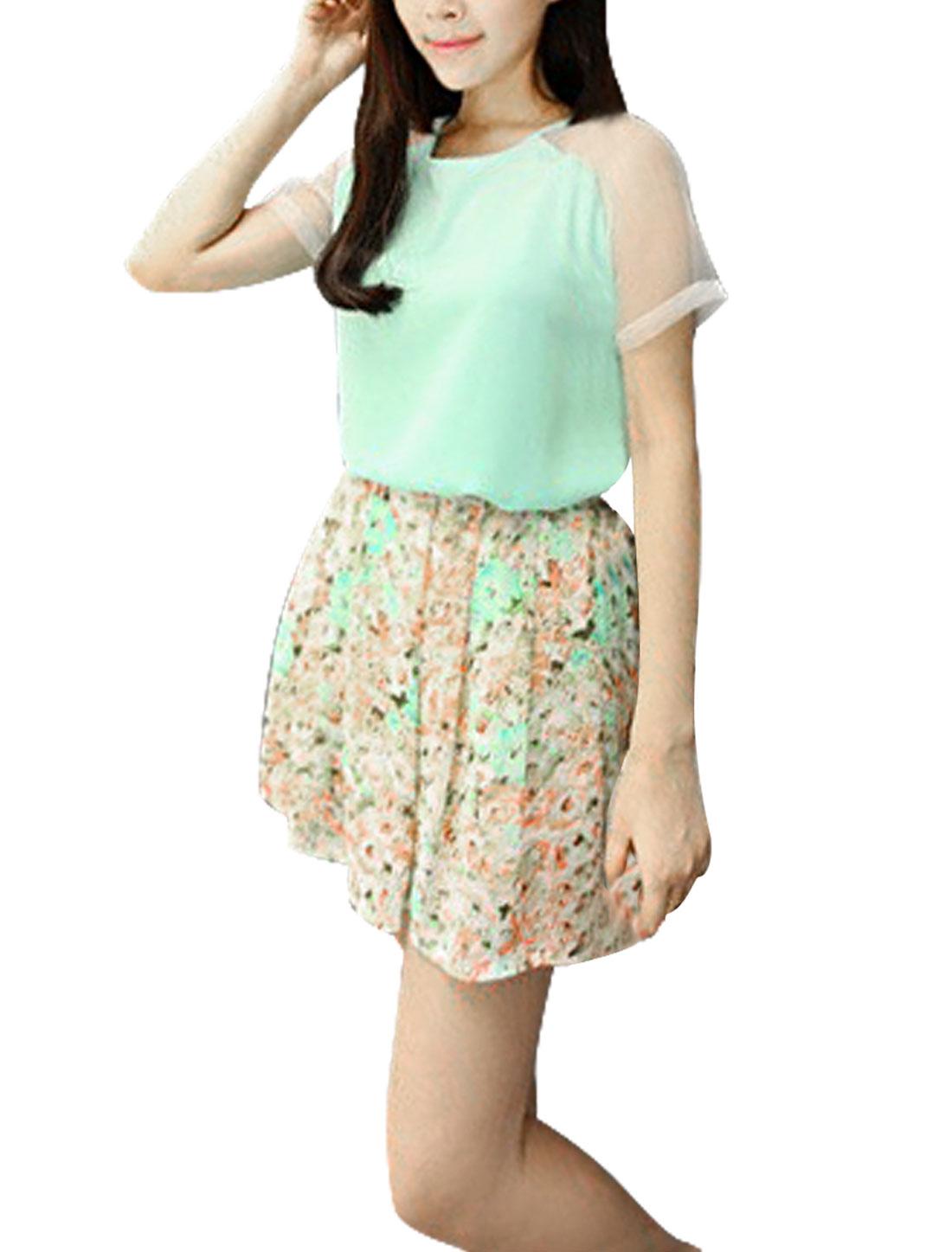 Ladies Round Neck Short Sleeve Chiffon Elegant Shirts Mint XS