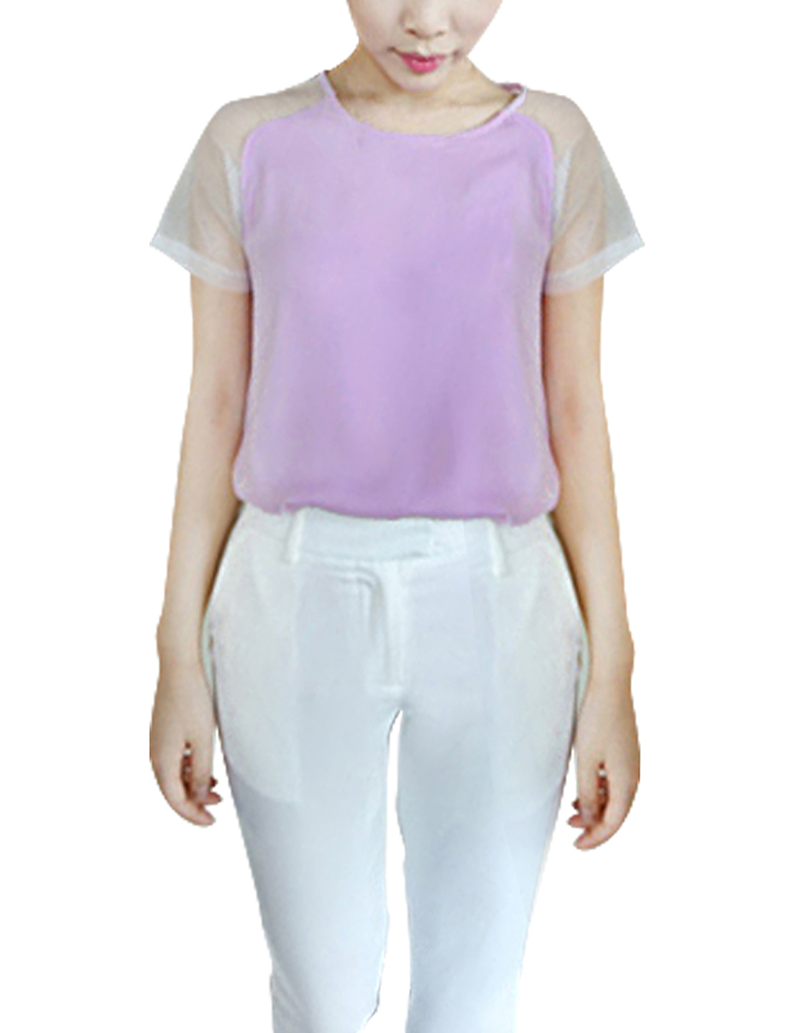 Women Button Back Round Neck Leisure Chiffon Shirt Light Purple XS