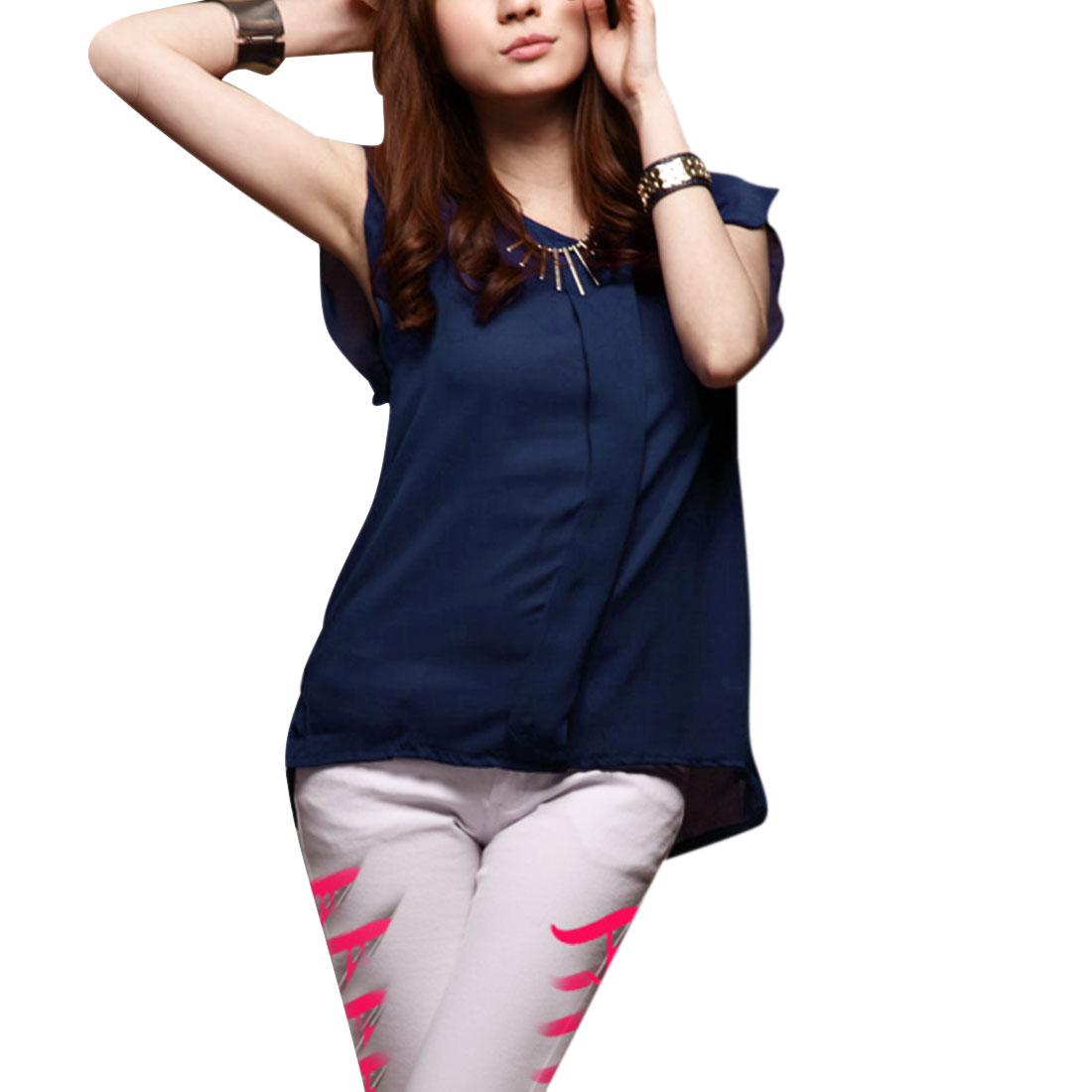 Ladies Newly Round Neck Short Flutter Sleeve Low-High Hem Dark Blue Tops XS