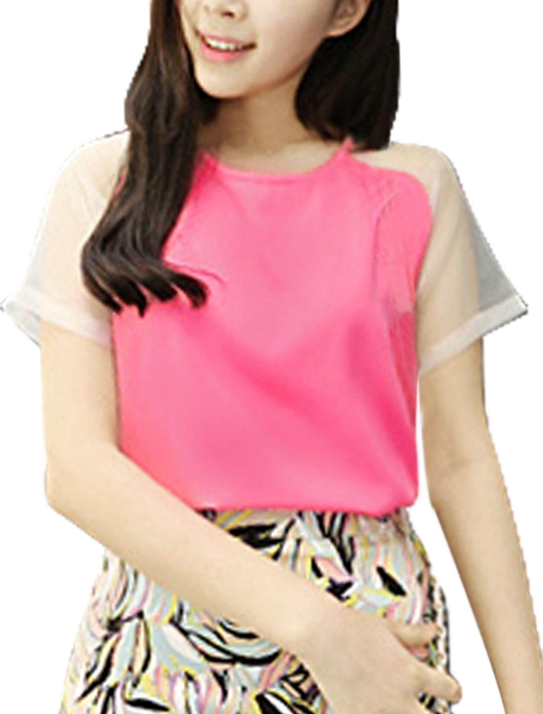 Women Patchwork Short Sleeve Buttoned Chic Shirt Fuchsia XS