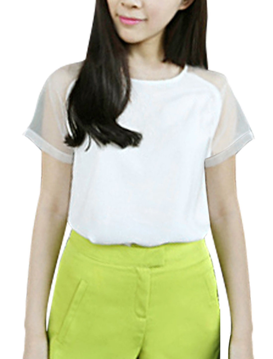 Lady Panel Mesh Short-sleeved Fashion Tops Blouses White XS