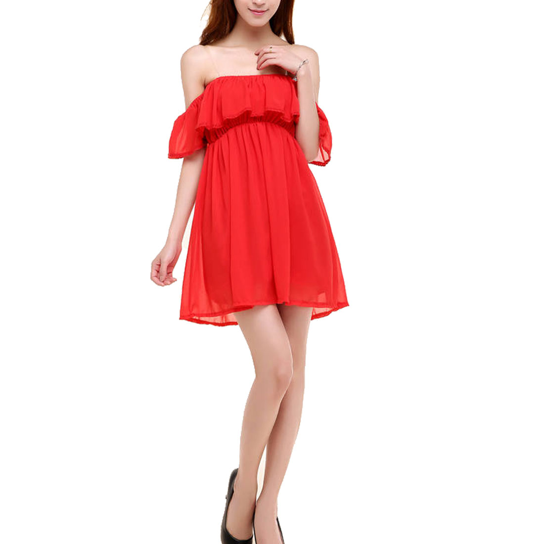 Ladies Above Knee Off-Shoulder Tube Chiffon Sexy Shirt Red XS