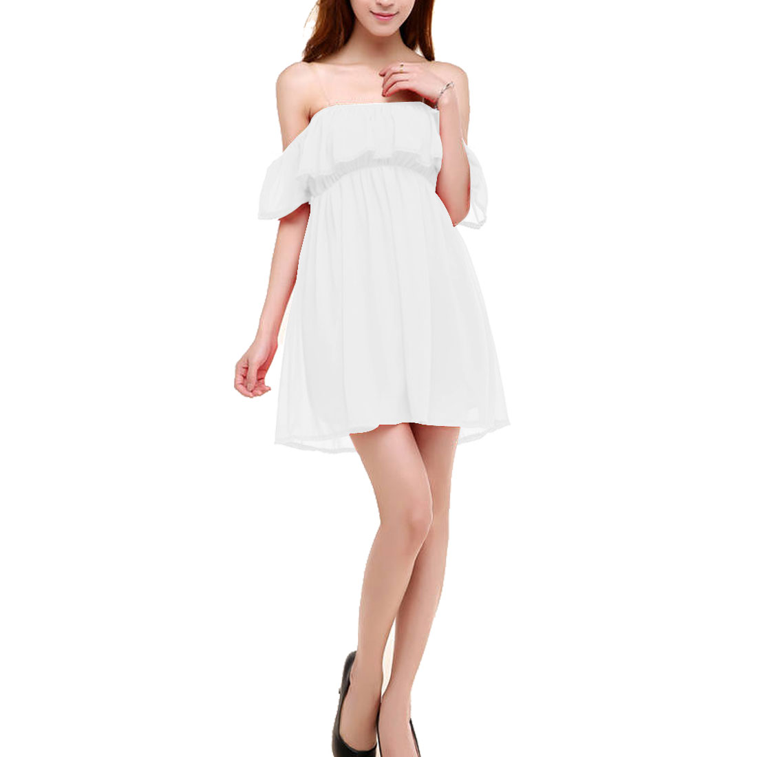 Ladies Boat Neck Off Shoulder Chiffon Above Knee Casual Shirt White XS