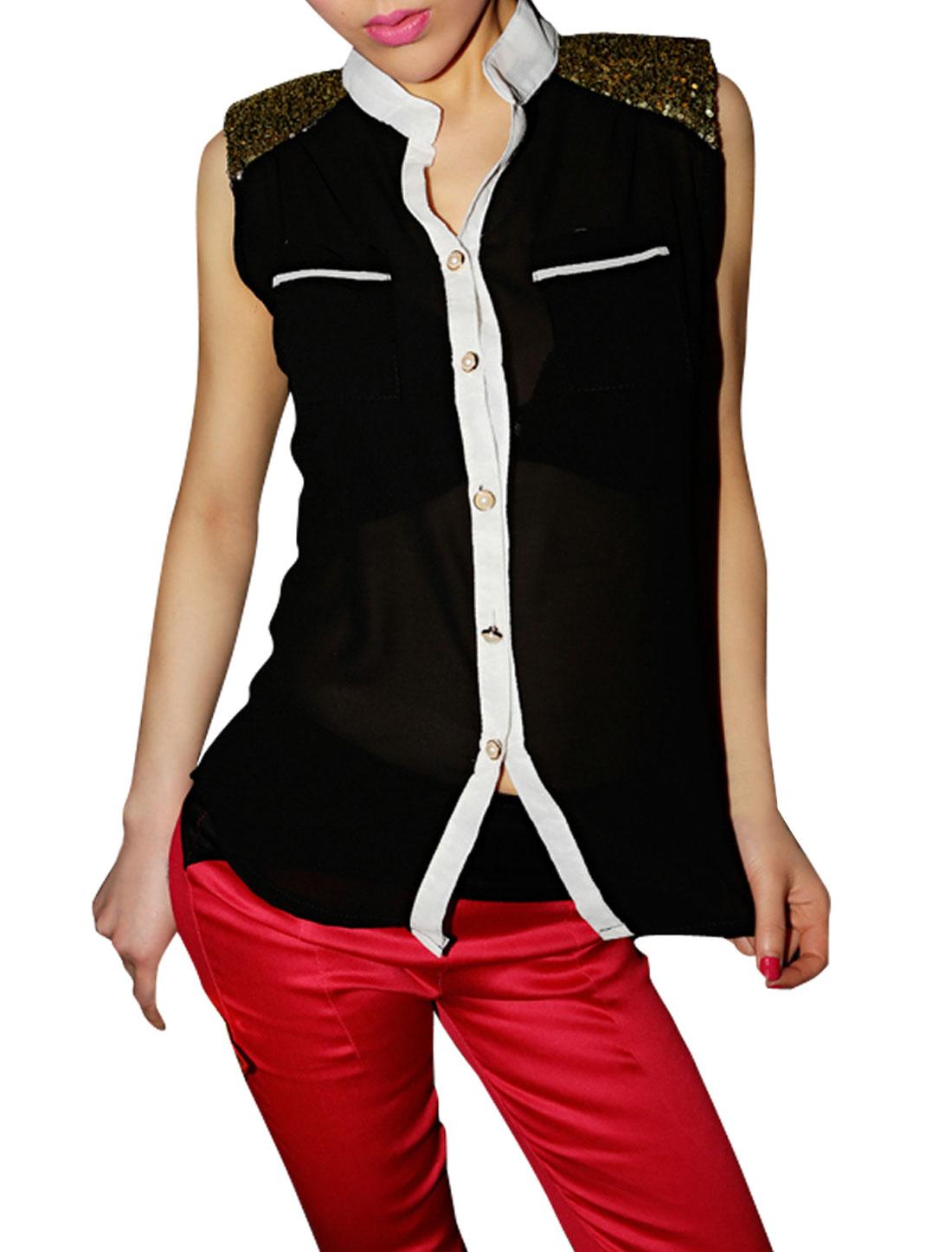 Women Pockets Pailette Decor Single Breasted Tops Blouses Black XS