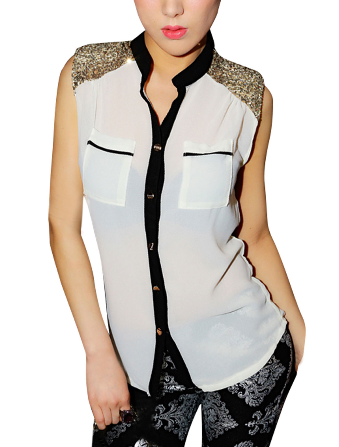 Lady Buttons Front Sequin Sleeveless Pockets Modern Shirt White XS