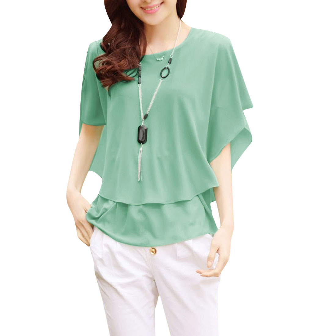Women Round Neck Chiffon Short-sleeved Loose Flare Shirt Light Green S