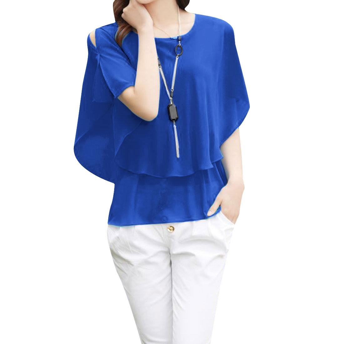Ladies Short Sleeve Cut Out Shoulder Round Neck Shirt Blue S