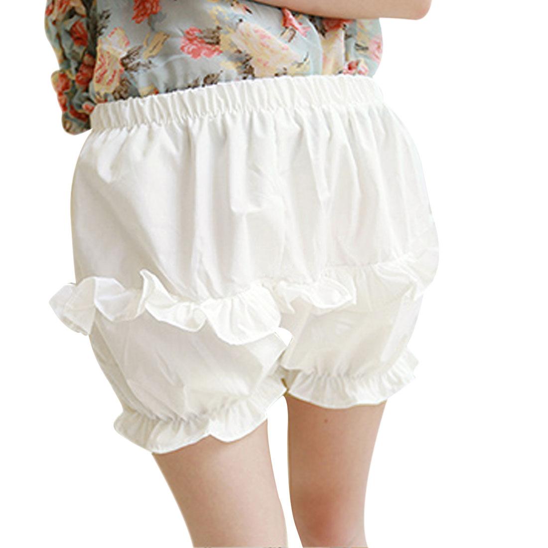 Women Elastic Waist Fashional Mini Shorts Trousers White XS