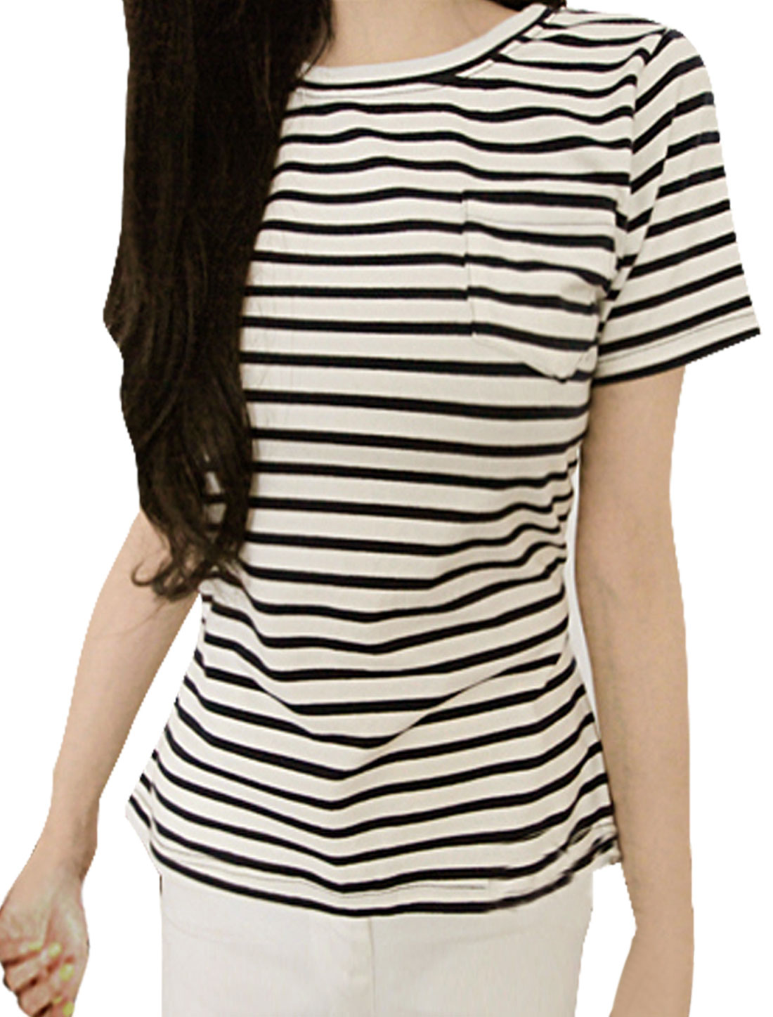 Women Softness Short Sleeve Stripes Shape Stretch Shirt Black White XS