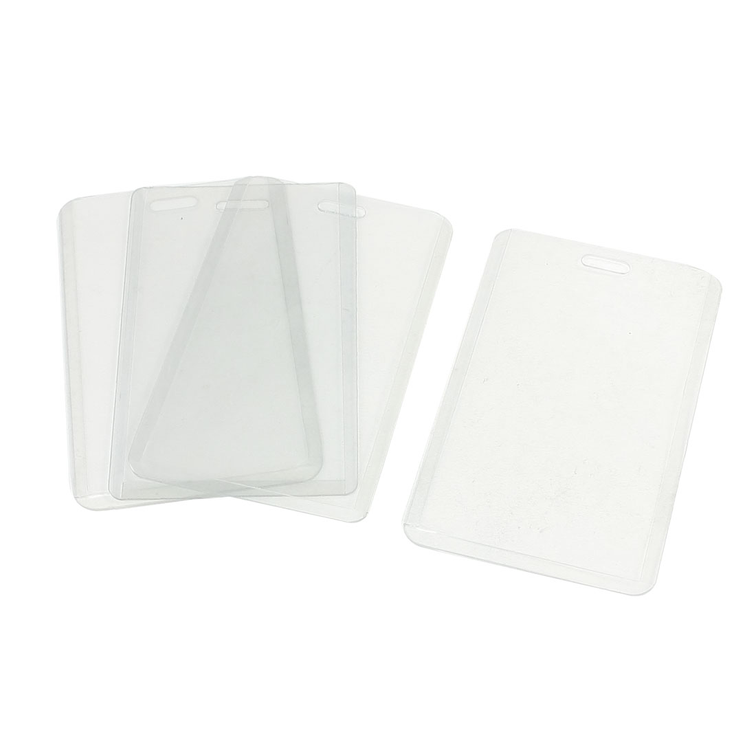 Soft Plastic Working Vertical ID Badge Card Holders Clear 4 Pieces