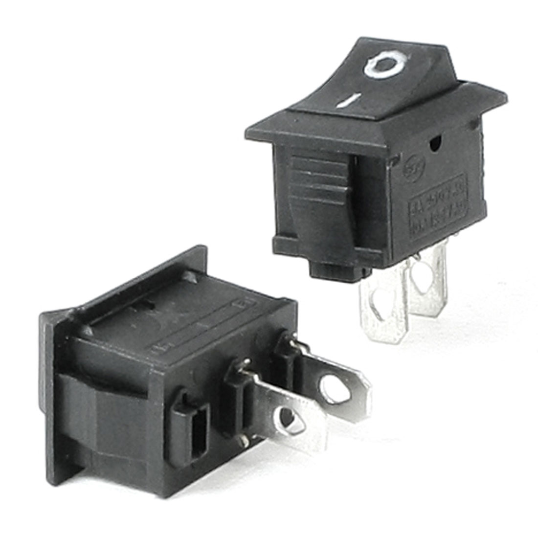 2 Pcs Black ON-OFF SPST 2 Pin Snap in Boat Rocker Switch AC 6A 250V 10A 125V