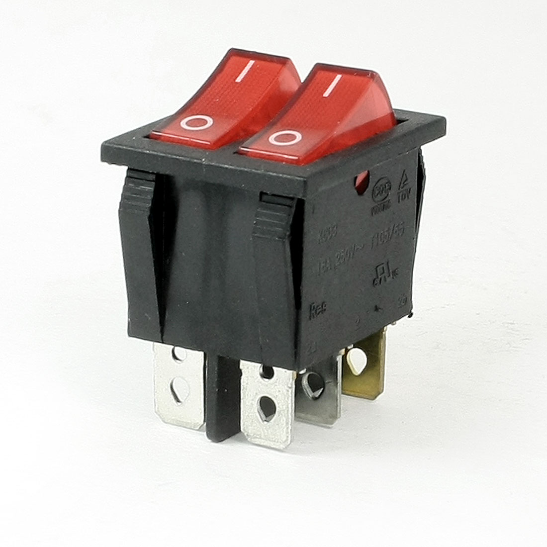 250VAC 10A SPST ON/OFF 6 Pin Two Position 2 in 1 Boat Rocker Switch