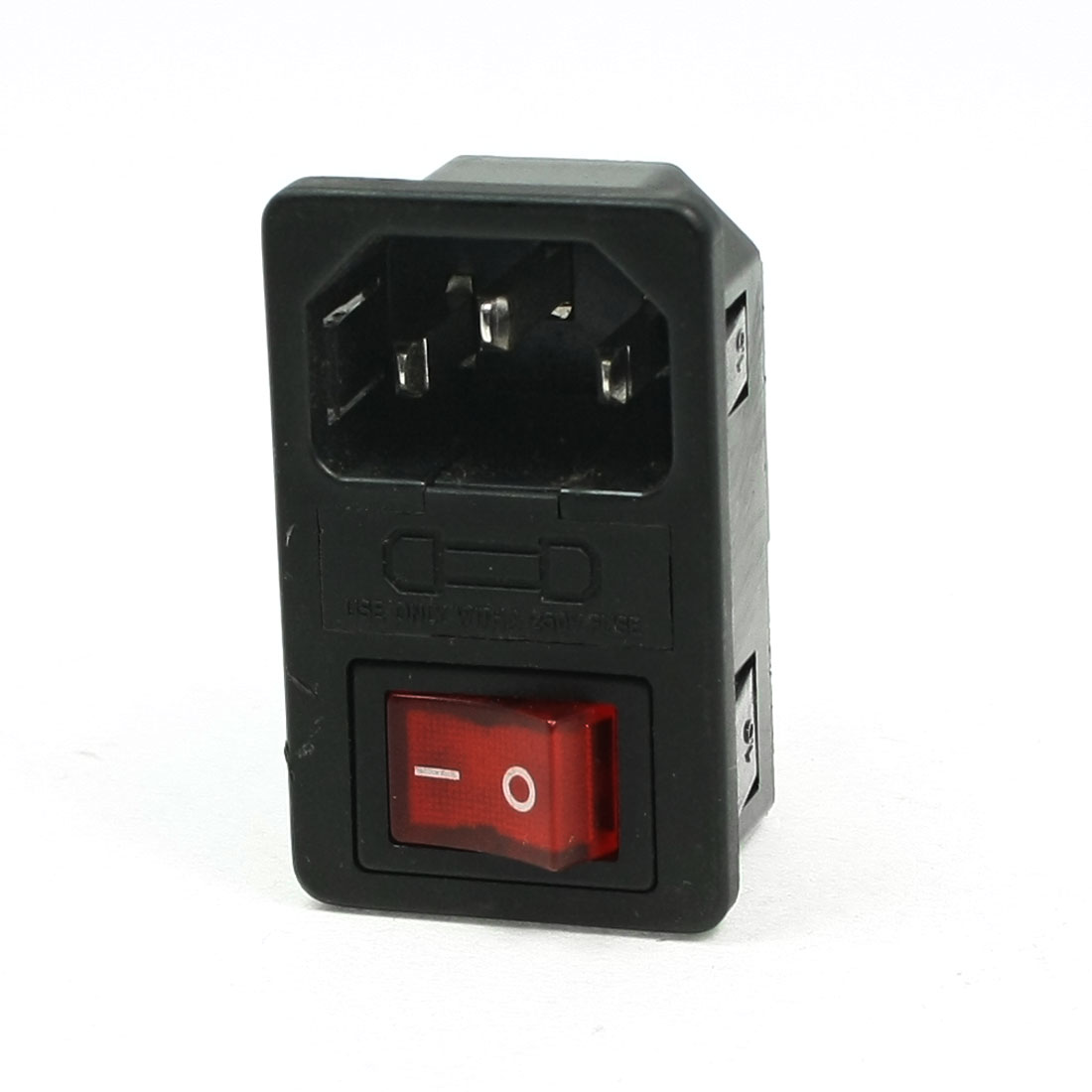 AC 250V 10A 4 Terminal Red Rocker Switch C14 Inlet Male Power Socket