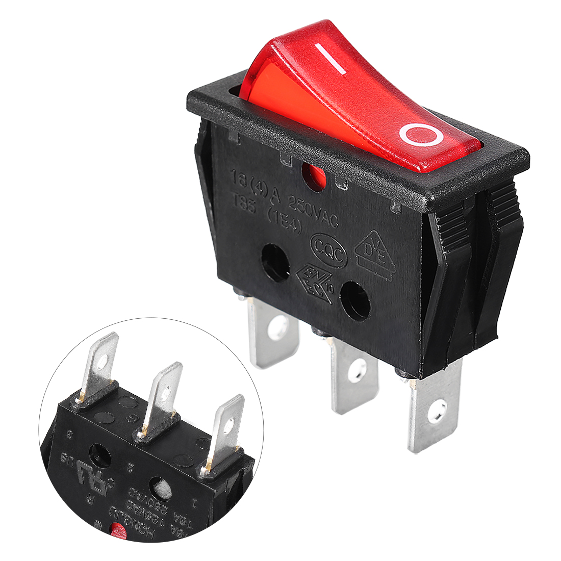 Red Light 3 Terminals Boat Rocker Switch AC 250V/16A SPST