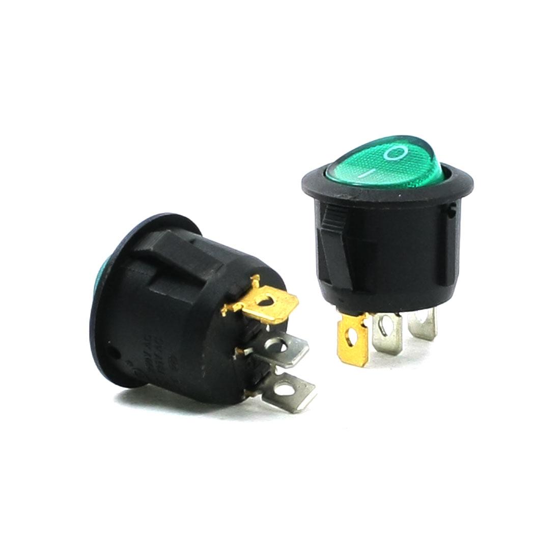 2 Pcs Green Light 3 Pin ON-OFF SPST Round Boat Rocker Switch 5A 250V 10A 125V AC