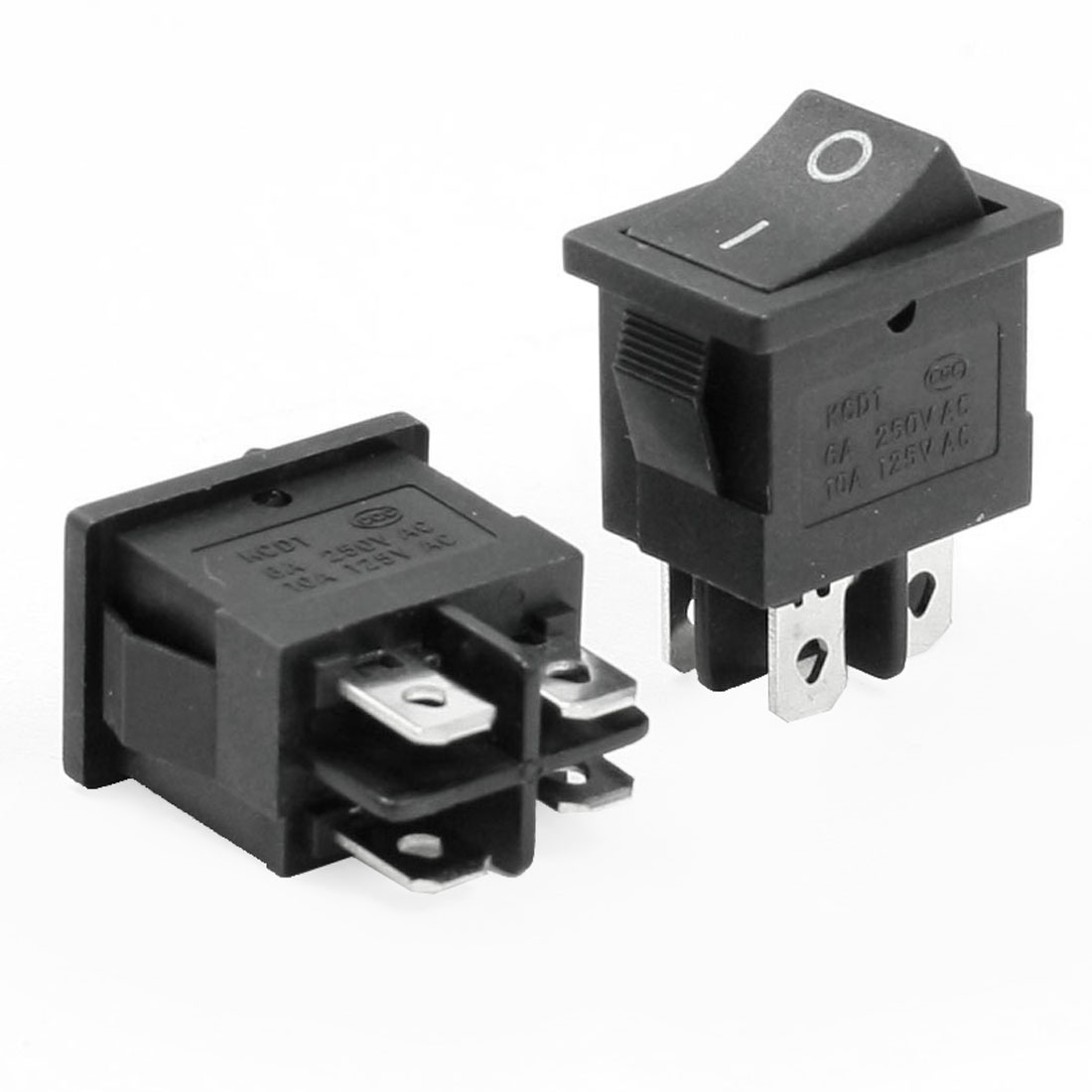 AC 250V 6A 125V 10A 4 Pins DPST On-Off Rocker Switch Black 2 Pcs