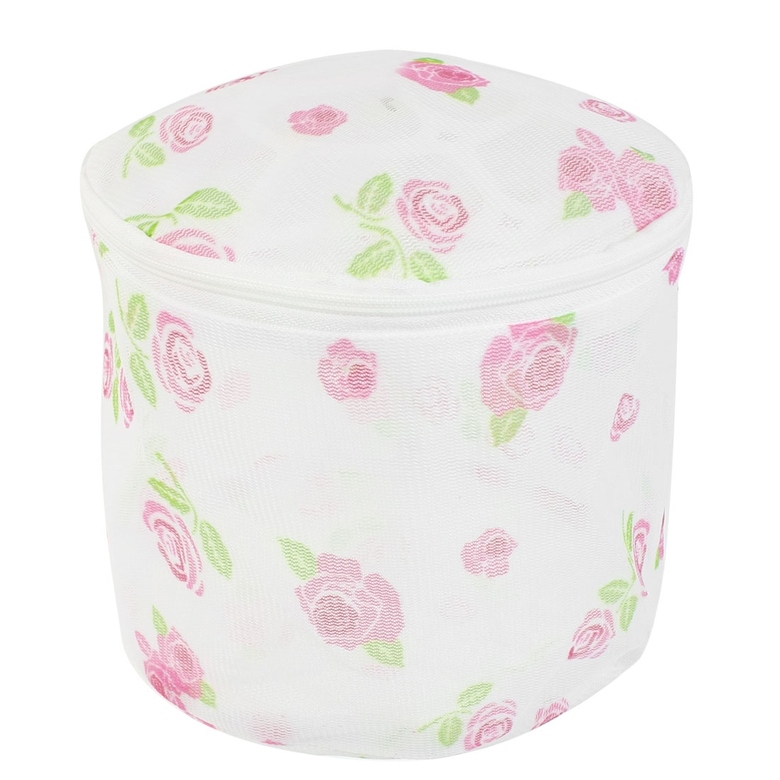 Rose Printed Zipper Mesh Nylon Laundry Underwear Washing Bag