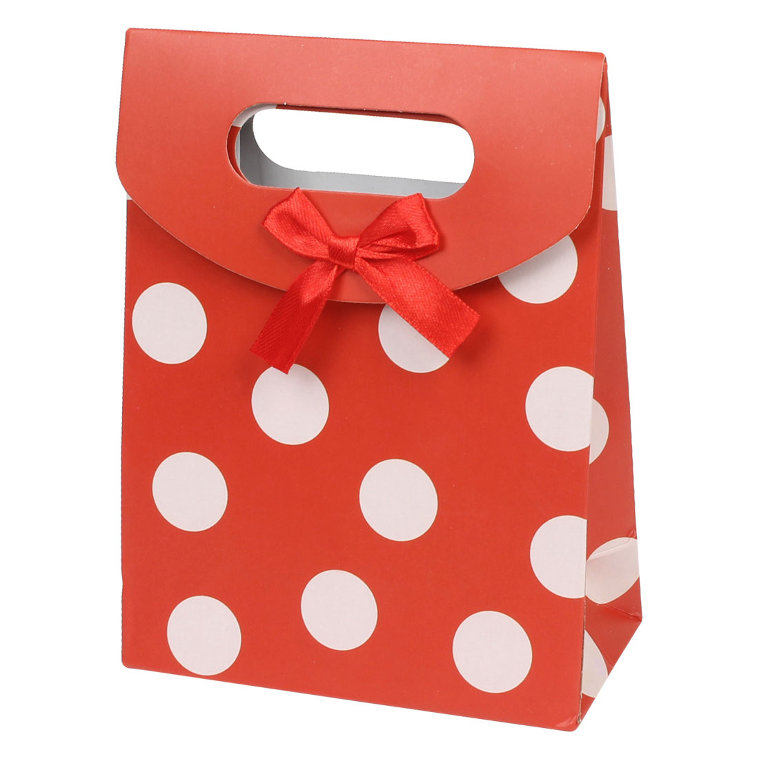 Fastener Closure White Circle Print Paper Gift Holder Bag Red