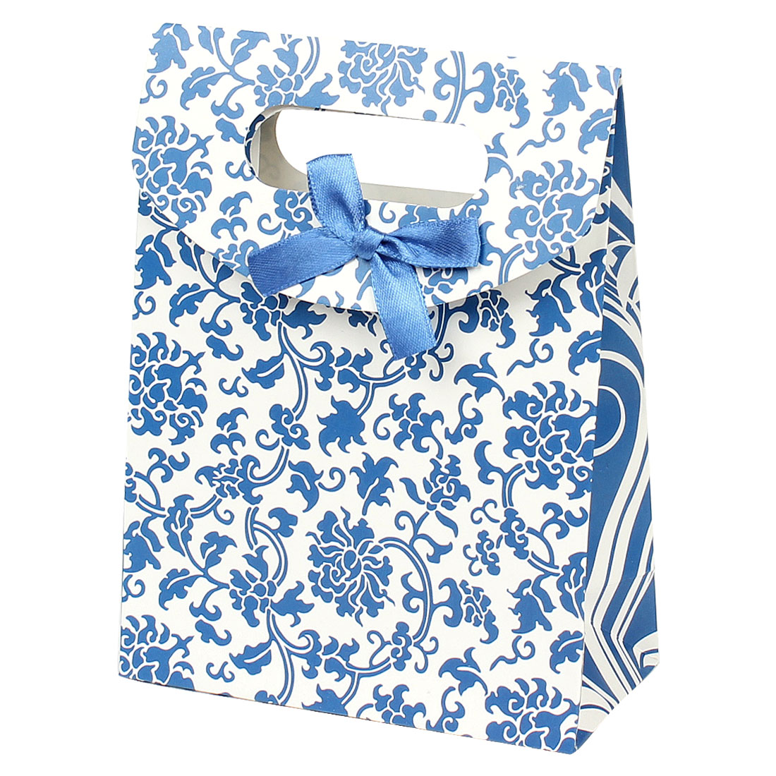 Bow Tie Blue Floral Vines Printed Gift Paper Foldable Bag Holder White