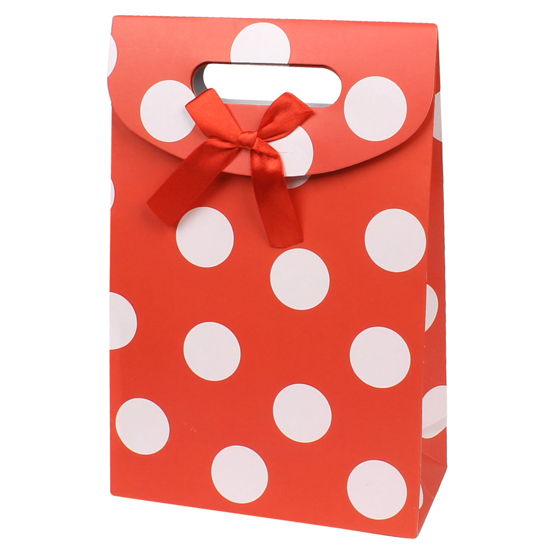 Bow Tie White Circle Pattern Gift Paper Foldable Bag Holder Red