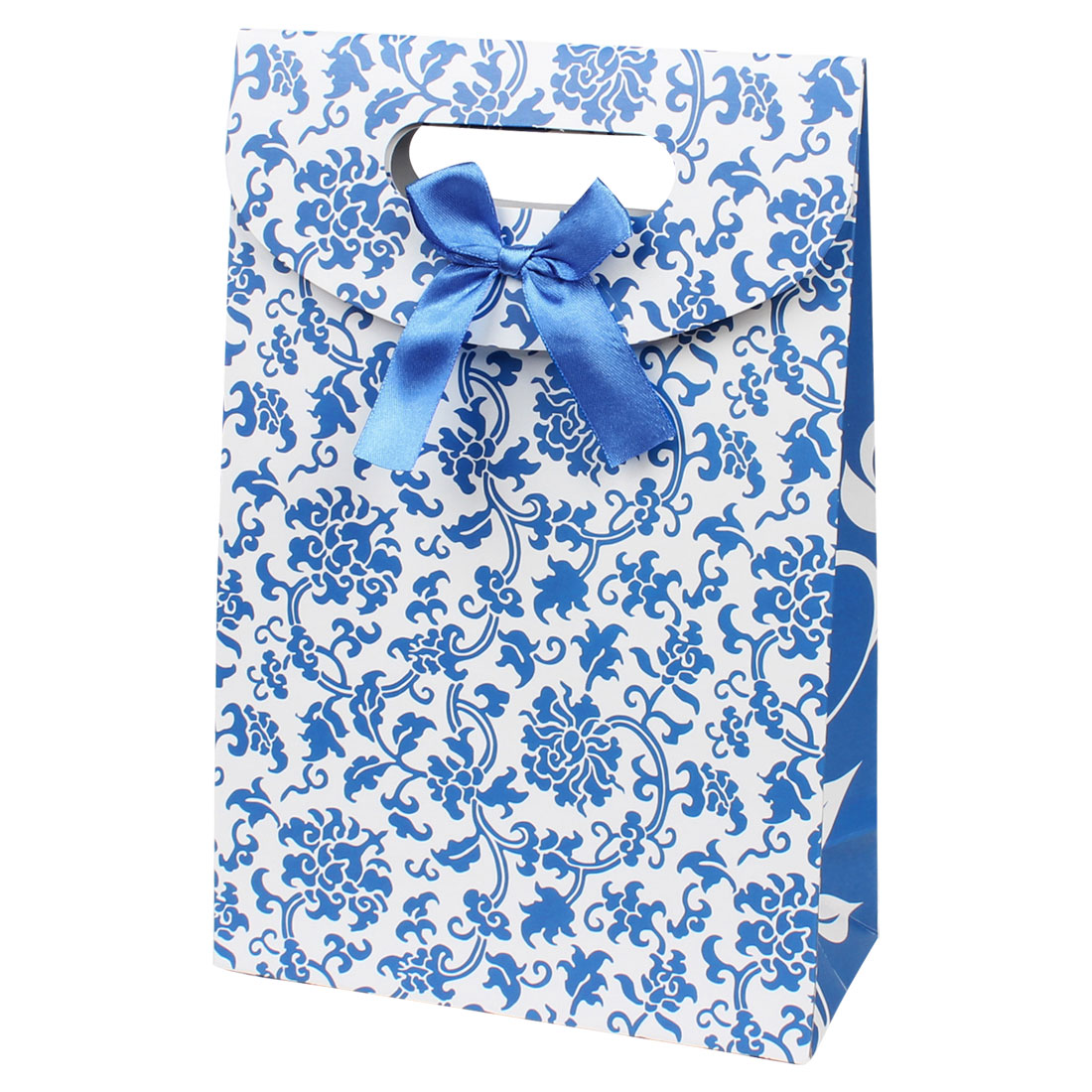 Bow Tie Floral Vines Print Party Gift Carrier Paper Foldup Bag Holder Blue White