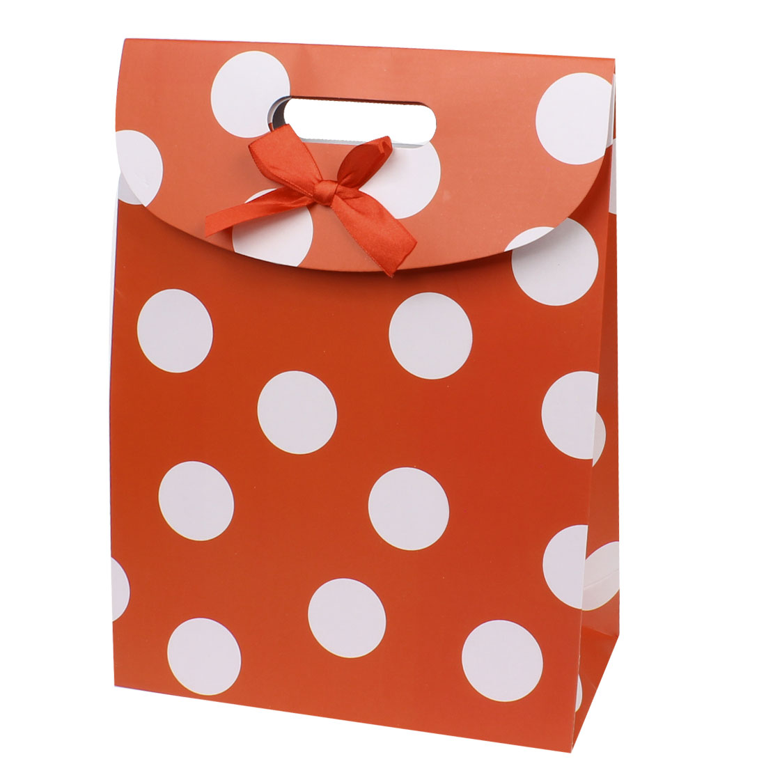 Fastener Closure White Circle Pattern Folding Red Paper Gift Bag
