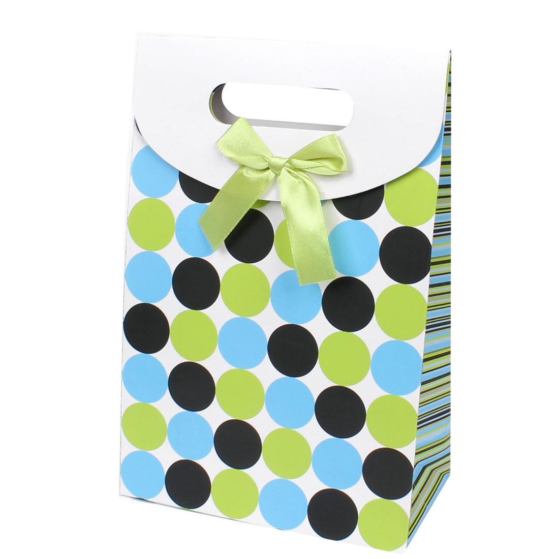 Green Blue Black Circle Printed Foldup White Gift Paper Bag 24x10x31cm