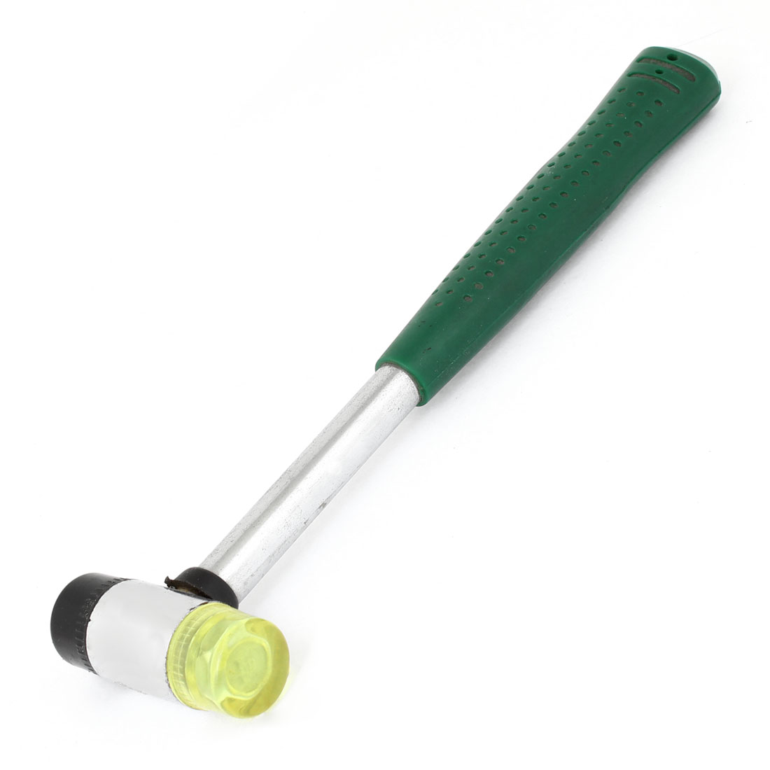 Green Rubber Coated Nonslip Handgrip Cylindrical Hammer Head Mallet Handy Tool