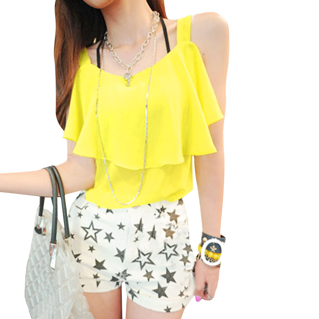 Lady Round Neck Scalloped Semi-sheer Yellow Chiffon Tank Top XS