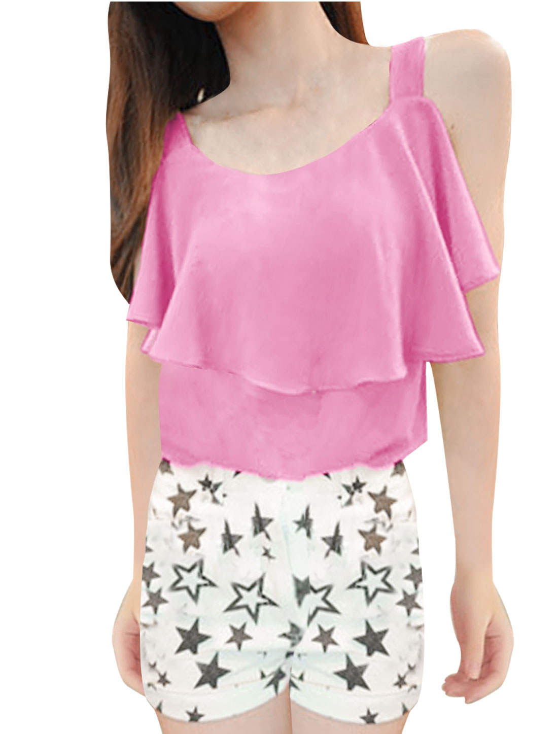Lady XS Pink Round Neck Scalloped Summer Sexy Tank Top